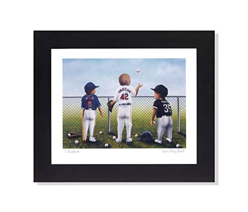 Lets Play Baseball Thomas Belle and Vaughn Sport Wall Picture Framed Art Print