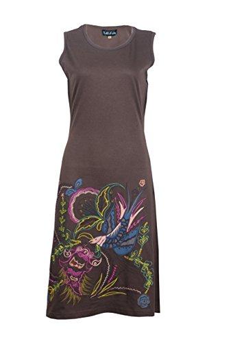 Sin mangas del vestido del verano de la túnica de la Mujer con el pájaro bordado�?Marrón