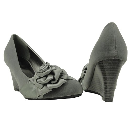 Womens Faux Suede Slip On Wedges Pumps w/ Flower Rosettes Gray, 5.5