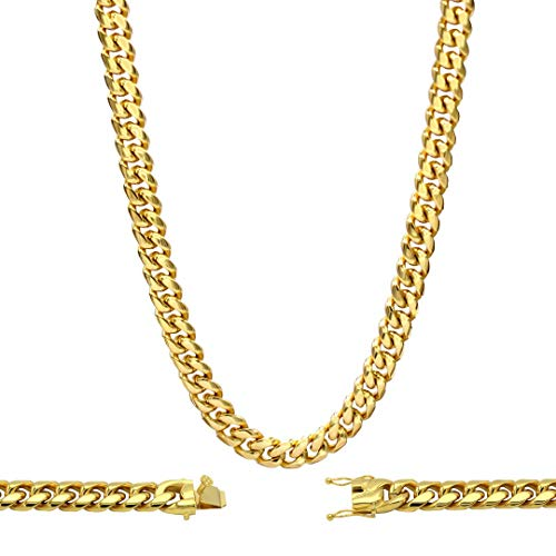 BEBERLINI Cuban Link Necklace 18k Gold Plated with Box Clasp Miami Chain Stainless Steel Fashion Jewelry 14 mm 30
