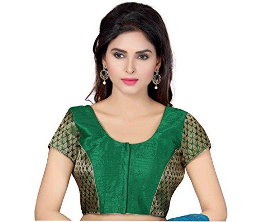 TrendyFashionMall Readymade Art Silk Bollywood Style Blouse Green-Small(38) by TrendyFashionMall