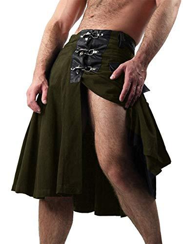 (Mens Scottish Utility Kilt Traditional Hybrid Deluxe Tartan Highland Pleated Costume Retro Skirt with Cargo Pockets Army)