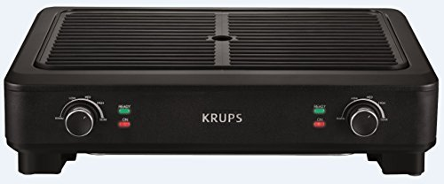 KRUPS PG760851 Electric Indoor Adjustable Temperature Smokeless Grill w/Non-Stick Cooking Surface and Dishwasher Safe Removable Drip Tray, Black by KRUPS