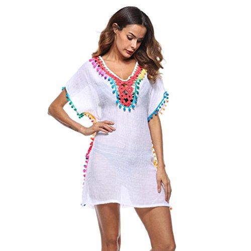 Sumen Women Stylish Tassel Swimsuit Cover Up Beach Sunscreen Tunic Tops Bikini Smock (Free Size, (Short Smock)