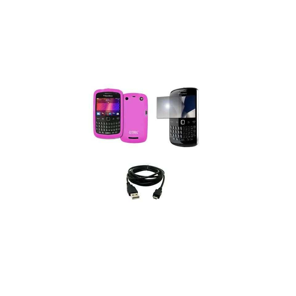 EMPIRE Hot Pink Silicone Skin Case Cover + Mirror Screen Protector + USB Data Cable for BlackBerry Curve 9360