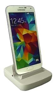 Emartbuy® Samsung Galaxy S5 Mini SM-G800 Blanco Inteligente Muelle Micro USB v2.0 Multi de la Función Estación Base Cargador para Escritorio