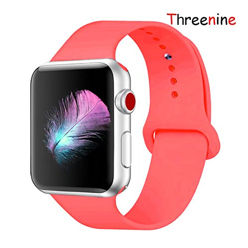 Threenine Watch Band, Durable Soft Silicone Compatible Watch Strap Replacement Sport Band Watch Band Series 4 Series 3 Series 2 Series 1 Sport, Edition (Watermelon Red, 40mm(38mm) S/M)