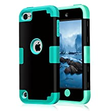 iPod touch5 case, iPod touch6 case, (TPU+ Silicone) Anti-slip Shockproof Dustproof slim and stylish protective case for Apple iPod touch 5 6th Generation (Black+cyan)