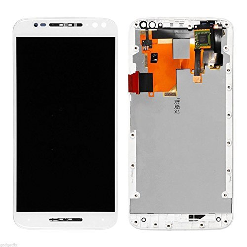LSHtech LCD Display Digitizer Touch Screen Assembly for Motorola Moto X Pure Edition XT1575 with Frame + Free Tools (White)