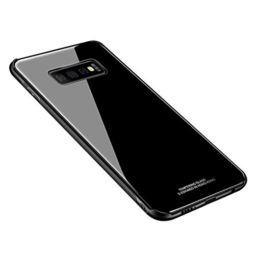(Samsung Galaxy S10 Plus Case,Luhuanx S10+ Glass Case,Tempered Glass Back Cover + TPU Frame Hybrid Shell Slim Case for S10+, Samsung S10 Plus Case(2019),Anti-Scratch Anti-Drop (Black))