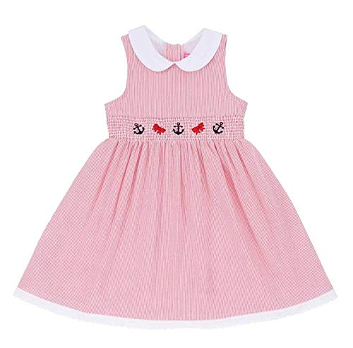 Good Lad Toddler & 4/6X Girls Seersucker Smocked Nautical Dress with Nautical Embroideries (6, Red) -