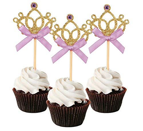 Mefuny Set of 20 Golden Tiara Cupcake Toppers Kids' Party Picks with Purple Bows]()