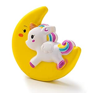 BeYumi Slow Rising Toy, Moon Unicorn Squishy Cream Scented Decompression Squeeze Toys for Collection Gift, Decorative Props Large or Stress Relief