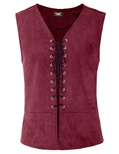 SCARLET DARKNESS Mens Victorian Steampunk Waistcoat Gothic Vest Tops Renaissance Costume Wine -