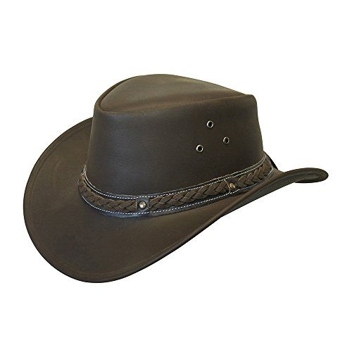 (Down Under Leather Hat Brown Medium )