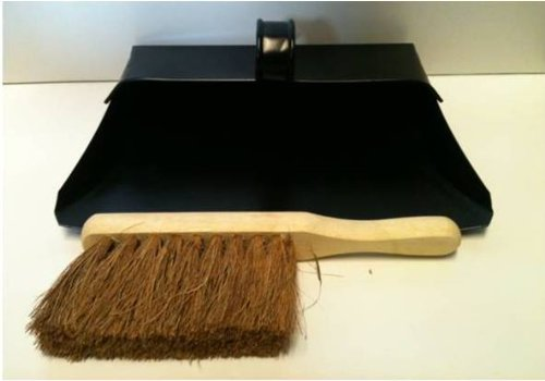 Black Hooded Metal Dust Pan and Soft Brush Dustpan ash pan Traditional Dustpan and Brush The Dustpan and Brush Store