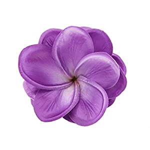 Unigift Bunch of 10 PU Real Touch Lifelike Artificial Plumeria Frangipani Flower Without The twig Bouquets Wedding Flowers Home Party Decoration (Purple) 4