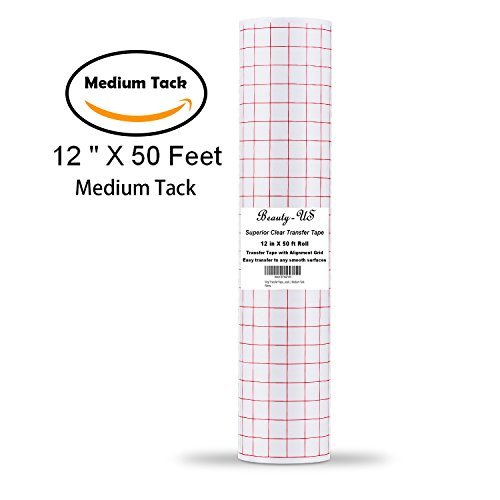 Vinyl Transfer Paper Tape Roll 12'' x 50 FT Clear w/Red Alignment Grid | Application Tape Perfect for Cricut Cameo Silhouette Self Adhesive Oracal for Signs Crafts Stickers Decals | Medium Tack by JANDJPACKAGING
