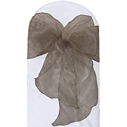 LA Linen 10-Pack Organza Sashes Chair Bows, Gray