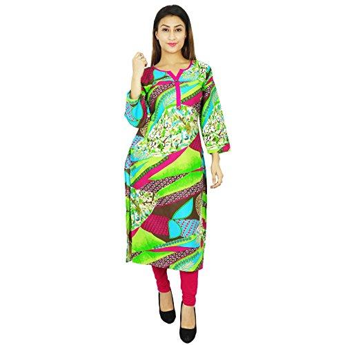 Diseñador indio de Bollywood Kurta mujeres se visten túnica de algodón étnico Kurti El color multi