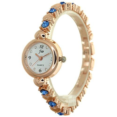 Hot Selling Korea Style Mini Golden Case Bracelet Watch Womens Analog Rhinestone Dial Heart Shape Band Watch Jewelry Clasp Closure Fashion Girls Timepiece Lovers Gifts