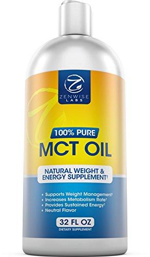 Haut de gamme MCT huile - supplément pur dérivé de noix de coco - un paléo - et Vegan Friendly répondre aux besoins du métabolisme - supplément liquide facile à utiliser de Zenwise Labs - 32 FL OZ