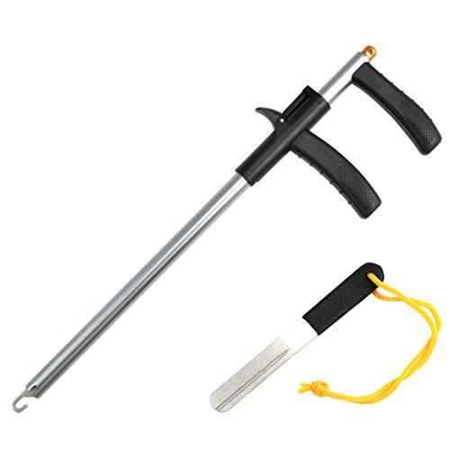 CrazyShark Hook Remover Aluminum Fish Hook Remover Extractor 13.6in Gun Metal + Hook File Sharpener Gray