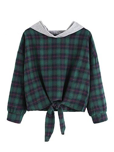 SweatyRocks Women's Casual Plaid Hoodie Shirt Long Sleeve Sweatshirt Tops Green (Green Plaid Jumper)