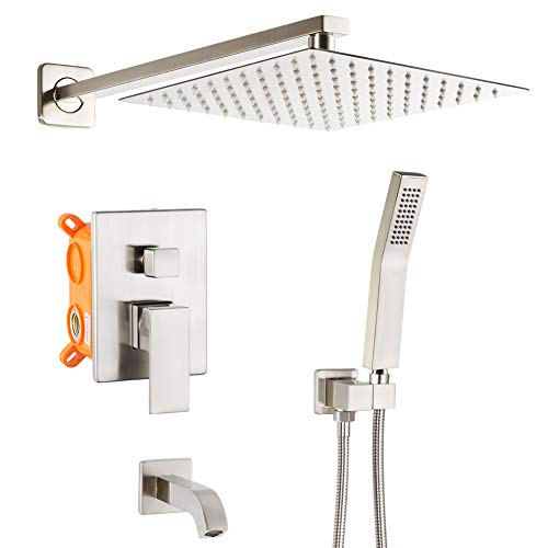 POP Bathtub Shower Faucet Set Brushed Nickel Shower System with Tub Spout 10 Inch Bathroom Rain  ...