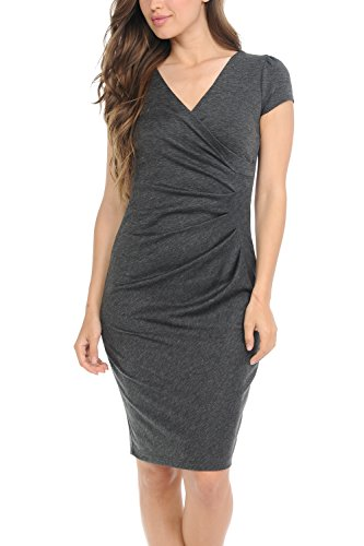 - Auliné Collection Womens V-Neck Zip Up Work Office Career Side Wrap Sheath Dress Charcoal Small