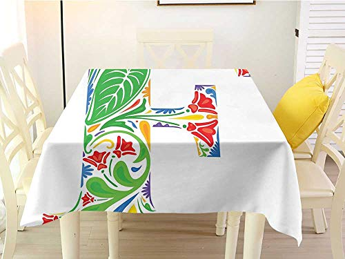 Lively Leaves Desk Topper - Square Tablecloth for end Table Letter F Lively Flowers and Leaves Pattern Capital F Vibrant Colored Floral Alphabet Design Multicolor Wedding 36 x 36 Inch