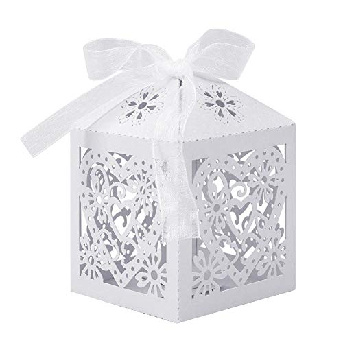 LungMongKol Shop Love Heart Favor Ribbon Gift Box Candles Paper Candy Boxes Wedding Party Decor White Set of 100 Pcs