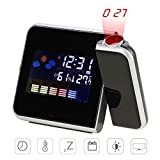 Projection Alarm Clocks, Womdee Digital Projection Alarm Clock with Indoor Outdoor Thermometer Weather