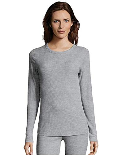 Sleeve Set Cotton Underwear Long (Hanes Women's Long Sleeve Thermal Waffle Knit Crew with FreshIQ and X-Temp Technology Heather Grey)