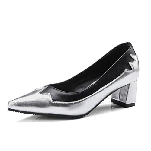 Puntiagudo Tacones altos Rough Heel Boca poco profunda Ocio Vestido de fiesta formal Zapatos individuales para mujer Silver