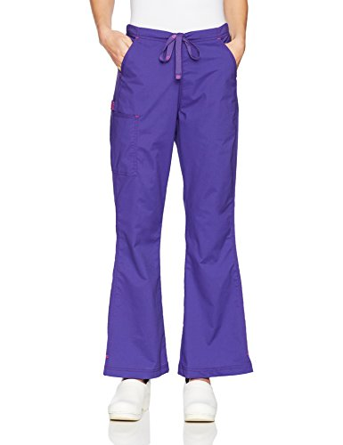 WonderWink Women's Grace - Flare Leg Cargo Pant, Grape, Extra Large
