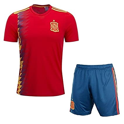 Marex Spain home Red Half Sleeves Football Jersey for Men with Shorts (M) fc04a6bed