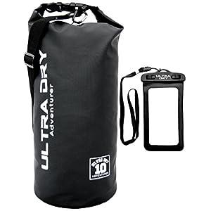 Premium Waterproof Bag, Sack with phone dry bag and Long Adjustable Shoulder Strap Included (Black, 10 L)