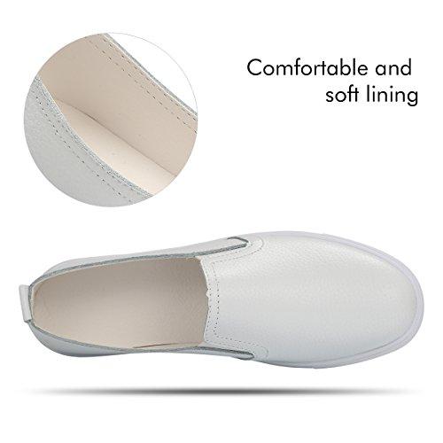 QIMAOO Damen Classic Slip-OnLow-Top SlipperLoafer Schuhe Lederimitat Bequem Sneaker Weiß