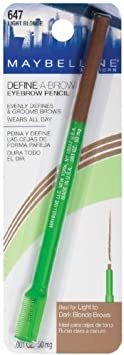 Maybelline New York Define-A-Brow Eyebrow Pencil 647 Light Blonde .001 OZ. 50 mg PACK OF 3