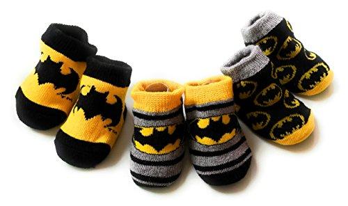DC Comics Batman Baby Booties Set, 3-Pack, 0-6 Months, Yellow, Black & Grey