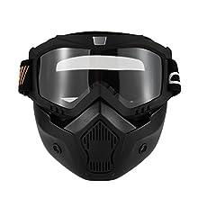 KKmoon Gafas Desmontable Mascara del Moto Filtro de Boca para Cascos Abierto Media Cara de Motocross£¨Negro,Transparente Lente
