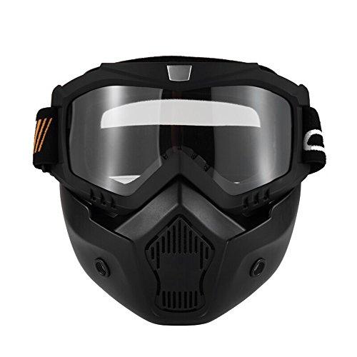 KKmoon Motormasker, afneembare bril en mond, filter voor open helmen, motorcross, skiën, snowboard, wit met getinte lens