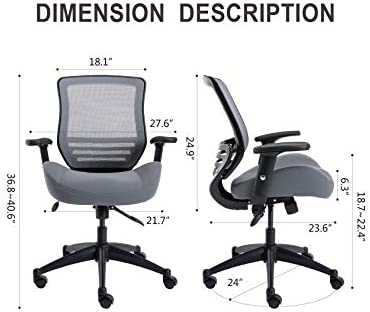 BOLISS Office Chair 400lbs Wide Seat Computer Chair Mesh Chair Ergonomic Desk Chair Task Chair Executive Chair Height Adjustable Armrest Black Frame Grey Fabric
