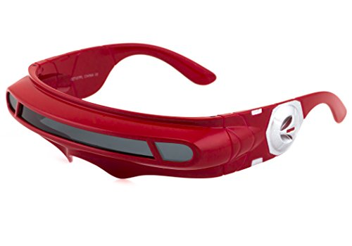 (Futuristic Space Alien Costume Party Cyclops Shield Colored Mirror Mono Lens Wrap Sunglasses 137mm (Red,)