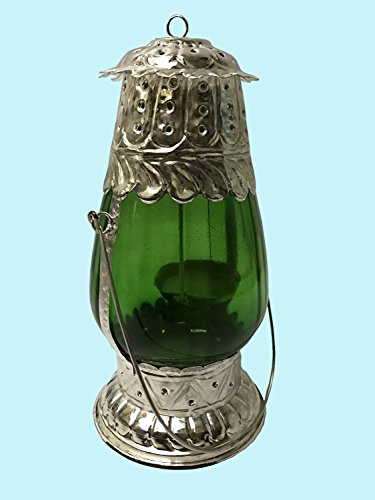 Antiques World Antique Arabic Look Traditional Lamps And Lighting Dubai Style Hanging Green Glass Panels Table Top Candle Lanterns Lamp AWUSAML 061 by Antiques World