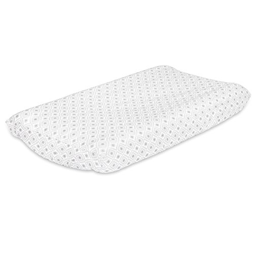 Squares Coverlet Satin (Grey Diamond Geometric Baby Changing Pad Cover by The Peanut Shell)