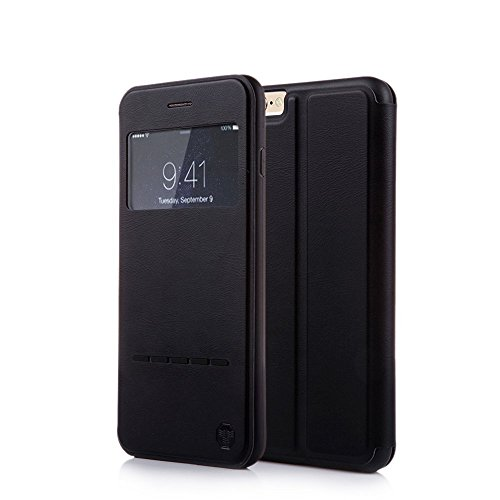 (Nouske iPhone 6 Plus/6S Plus 5.5 inch Smart Touch Case S-View Window Flip Cover/Magnetic Closure/Stand/TPU bumper/360 Protection, Black)