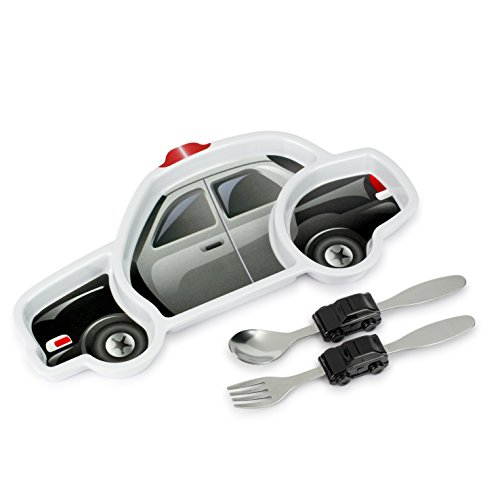 Meal Set (Police Car) – 3-Piece Set for Kids and Toddlers – Plate, Fork and Spoon that Children Love - Sparks your Child's Imagination & Teaches Portion Control - Dishwasher Safe (Baby Meal Time Set)