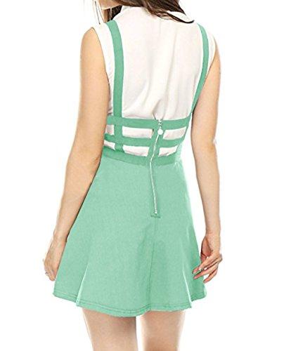 Haute Bretelles Soire JackenLOVE Mini Jupe Bandage Ajoure de Fte t Clair Jupes Personnalit de Plage Mode Vert Jupe Femmes Taille SXxwv7rX